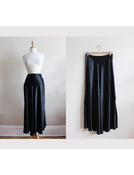 Vintage 1990s Black Satin Bias Cut Midi Skirt by Etsy