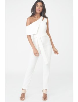 Asymmetric Jumpsuit With Tie Belt by Lavish Alice