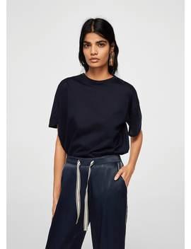 Trim Satin Trousers by Mango