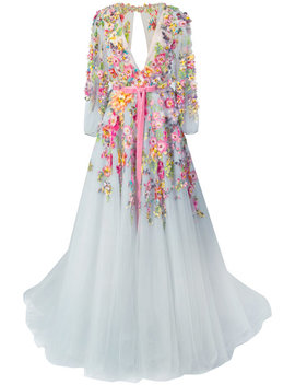 Seidenabendkleid Mit Floralen Applikationen by Marchesa