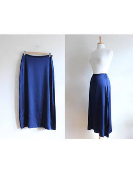 Vintage 1990s The Limited Navy Blue Silk Midi Skirt by Etsy