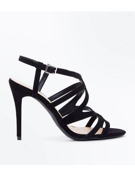 Wide Fit Black Suedette Strappy Stiletto Sandals by New Look
