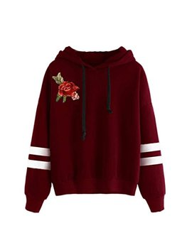 Yang Yi Hot Womens Embroidery Applique Long Sleeve Hoodie Sweatshirt Jumper Hooded Pullover Blouse by Yang Yi