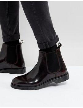 Asos – Chelsea Stiefel Aus Weinrotem Leder Mit Gerippter Sohle by Asos