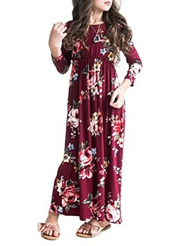 Mitilly Girls Flower 3/4 Sleeve Pleated Casual Swing Long Maxi Dress With Pockets by Mitilly