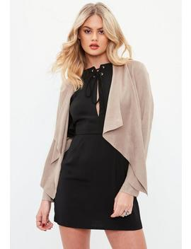 Gray Faux Suede Waterfall Jacket by Missguided