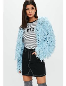 Premium Pastel Blue Shaggy Cropped Knitted Cardigan by Missguided