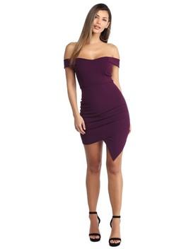 Plum Off Shoulder Savvy Dress by Windsor