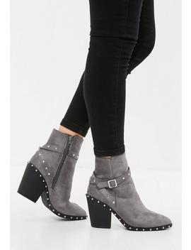 Silver Studded Western Ankle Boot by Missguided