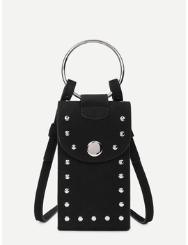 Studded Detail Pu Pouch Bag by Sheinside