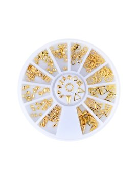 Triangle Square Designs Gold Metal Hollow Nail Art Studs Nail Art Decorations by Joylive