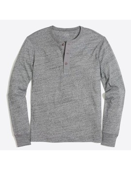 Tall Long Sleeve Heathered Cotton Henley by J.Crew