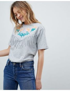 Monki Embroidered Fringe Detail Tee by Monki