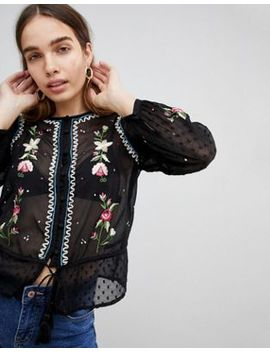 New Look Long Sleeve Embroidered Blouse by New Look