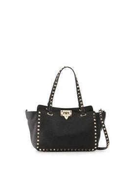 Rockstud Grain Small Tote Bag, Black by Valentino Garavani