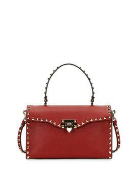 Rockstud Small Single Handle Satchel Bag, Red by Valentino Garavani