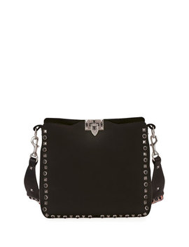 Rockstud Rolling Small Flip Lock Hobo Bag, Black by Neiman Marcus