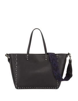 Rockstud Rolling Medium Reversible Tote Bag, Black by Neiman Marcus