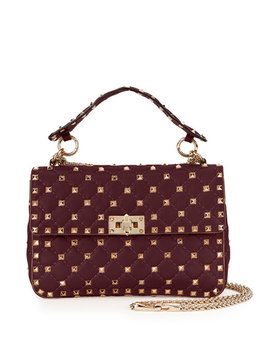 Rockstud Medium Quilted Leather Shoulder Bag, Bordeaux by Valentino Garavani