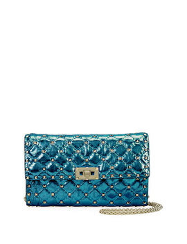 Rockstud Spike Medium Quilted Shoulder Bag, Blue by Neiman Marcus