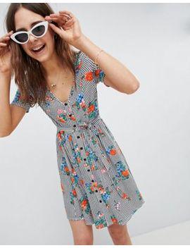Asos Design Floral Print Gingham Button Through Sundress by Asos Design