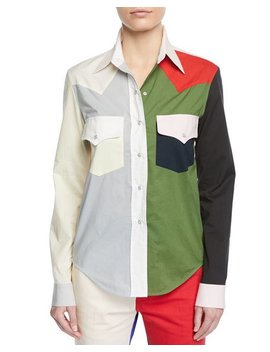 Colorblock Button Down Long Sleeve Cotton Western Shirt by Neiman Marcus