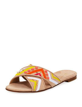 Buttoncandy Embroidered Suede Sandal, Light Beige by Stuart Weitzman