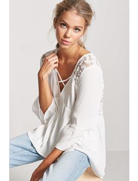 Lace Panel Trumpet Sleeve Top by Forever 21