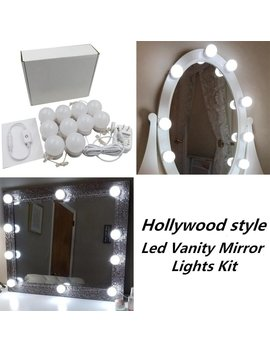 New Version Hollywood Style Led Vanity Mirror Lights Kit With 10 Dimmable Bulbs And Power Plug,Lighting Fixture Strip For Makeup Vanity Table Set In Dressing Room(Mirror Not Included) by 321 Lights