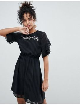 New Look Pleated Embroidery Ruffle Dress by Asos Brand