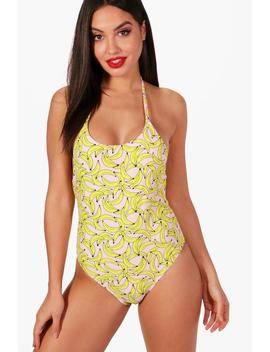 Maldives Banana Print Lace Up Back Swimsuit by Boohoo