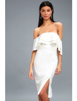 Band White Off The Shoulder Midi Dress by Bardot