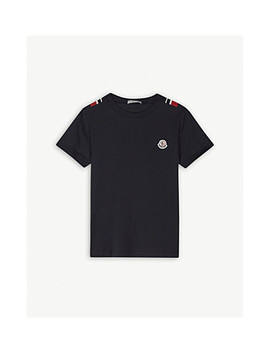 Striped Trim Cotton T Shirt 4 14 Years by Moncler