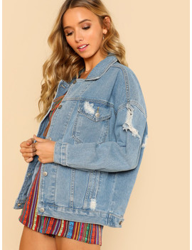 Light Wash Oversized Distressed Denim Jacket Light Blue by Sheinside