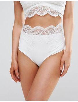 Asos Bridal – Hochwertige Bikinihose Mit Hohem Bund Und Spitzenapplikation by Asos Collection