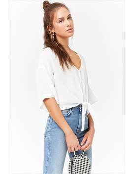 Buttoned Tie Front Top by Forever 21