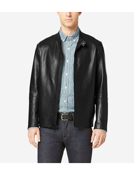 Raw Edge Bonded Leather Moto Jacket by Cole Haan