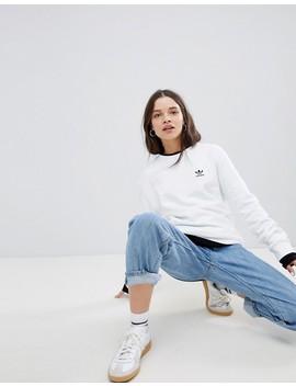 Adidas Originals Mini Trefoil Sweatshirt In White by Adidas