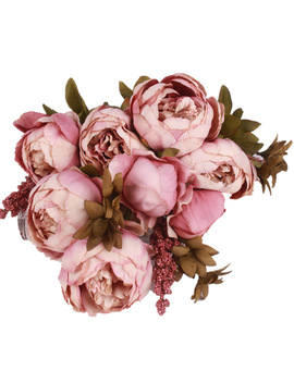 Hight Quality Silk Flower European 1 Bouquet Artificial Flowers Fall Vivid Peony Fake Leaf Wedding Home Party Decoration by Chu Xin Official Store