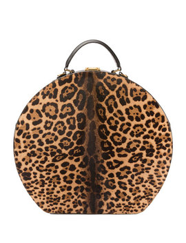 Mica Large Leopard Print Hat Box Bag by Saint Laurent
