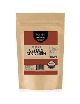 Herb Affair Organic Ceylon Cinnamon Powder, Freshly Ground, Referred To As True Cinnamon, Sweet, Delicate And Mild Flavor (1 Lb) by Herb Affair