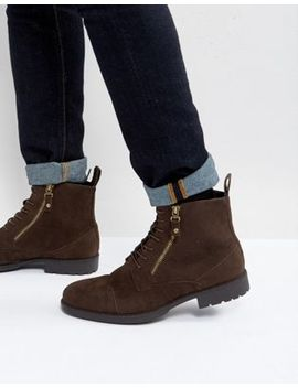 Asos Lace Up Boots In Brown With Double Zip by Asos