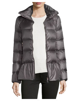 Anet Shiny Puffer Peplum Coat, Gray by Moncler
