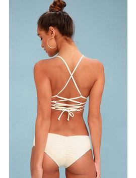 Bright One Cream Embroidered Bikini Bottom by Billabong