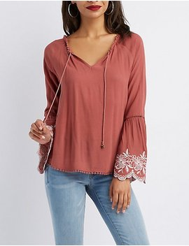 Crochet Trim Floral Embroidered Bell Sleeve Top by Charlotte Russe
