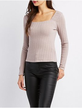 Ribbed Square Neck Top by Charlotte Russe