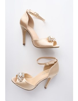 Bethany Nude Satin Rhinestone Ankle Strap Pumps by Lulu's