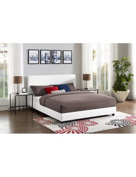 Mainstays Upholstered Bed, White Faux Leather, Queen by Mainstays