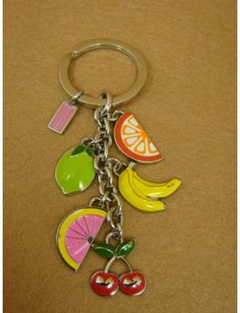 Genuine Coach Multi Enamel Fruit Charm Keychain   Silver Tone by Coach