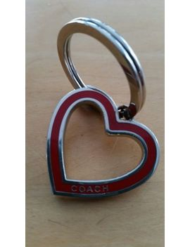 Coach Heart Shaped Key Ring Red Enamel Over Metal Lightweight by Coach